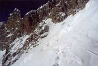 Dangerous traverse from the South Col